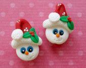Polymer Clay Beads Christmas Snowmen Pair