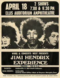 Jimi Hendrix on April 1969 in Memphis, Tennessee USA at Ellis Memorial Auditorium. Jimi Hendrix Experience, Tour Posters, Band Posters, Music Posters, Event Posters, Film Posters, Blues Rock, Affiche Jimi Hendrix, Hard Rock
