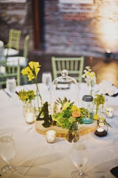 such cute centerpieces with moss and wood rounds