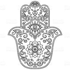 Vector hamsa hand drawn symbol. Decorative pattern in oriental style. Lizenzfreies vektor illustration