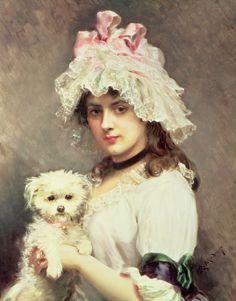 PORTRAIT OF A DAYDREAMER   Girl With A Lap Dog - Raimundo De Madrazo Y Kuntz