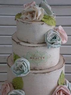 shabby chic cake . inventingweddings.blogspot.com