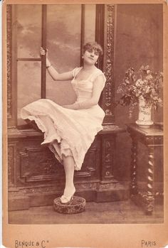 """Alice Marot, a high class prostitute who appeared in """"The Pretty Women of Paris"""", a privately printed guide to Paris's best courtesans and prostitutes.  Photographed by M. M. Benque, a well known celebrity photographer."""