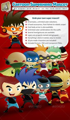 Buy Cartoon Superhero Mascot Creator by louisdavilla on GraphicRiver. This cool superhero mascot creation kit will definitely blow you away! Build and customize your very own superhero m. Superhero Characters, Cartoon Characters, Character Illustration, Graphic Illustration, Superhero Theme Party, Business Card Maker, Character Creator, Design Art, Graphic Design
