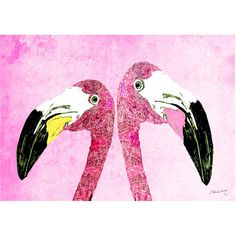Jessica Russell Flint - Loved Up Flamingos Print (170 CAD) ❤ liked on Polyvore featuring home, home decor, wall art, backgrounds, decor, art and unframed wall art