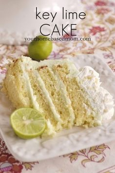 """""""key lime cake - light and lovely."""" I had Key Lime Cake at a bridal show once, & I loved it! I hope this is the same. Lime Recipes, Sweet Recipes, Key Lime Cake, Table D Hote, Pie Cake, Moist Cakes, Cupcake Cakes, Cupcakes, Cookie Cakes"""