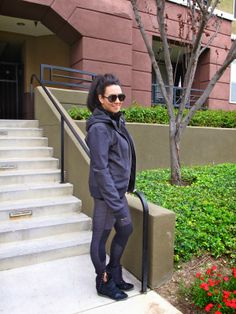 Workout outfit with Lululemon jacket and yoga pants, Target sneaker wedges and H&M tshirt. Giant Vintage aviator sunglasses complete the look.