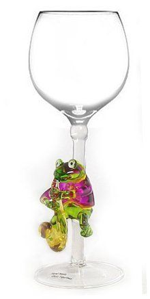 Wine Glass by Yurana Designs Hand Blown Frog Playing Saxophone W161 by Yurana Designs. $35.00. Great gift for Wine Lover. One of the most popular of our Yurana Glasses. This will be one Gift they don't already have!. Hand Blown Frog Playing Saxophone  Wine Glass by Yurana Designs. We offer 150 Glasses, and 50 Stoppers of Similar Designs. Hand Blown Frog Playing Saxophone  Hand Wash Only