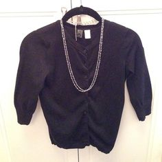 Classic Black Cotton Button Down Sweater From Nordstrom Three Quarter Sleeve Cotton Cardigan in Black Nordstrom BP Sweaters