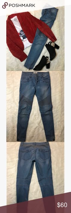 Free People Seamed Moro Skinny Jean (Size 27) These Free People Jeans are like new! Interesting and rare biker chic jeans. These size 27 jeans are skinny as have zippers by both ankles. These are in great condition and look beautiful on! Free People Jeans
