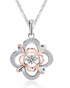 Two Tone Cubic Zirconia Floral Necklace   $80.00   #floral #LinkChain #ss #cz #TwoTone #CubicZirconia #SterlingSilver #Necklace