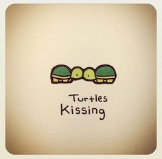 Turtles kissing *to put on bottom back of all wedding send-outs (save the date, invites, thank yous), maybe on sign somehow small incorporated into the rest