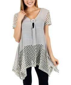 Love this Gray Chevron V-Neck Sidetail Tunic by Lily on #zulily! #zulilyfinds