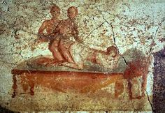 Ancient Romans elevated pornography into an art form. Statues, paintings, poetry, murals, graffiti, there was nothing pornographic that the Romans weren't masters at. Picture of an ancient 3-way found on a wall in Pompeii.
