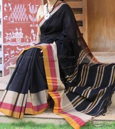 Elegant Woven Handloom Cotton Saree Handloom Saree, Silk Sarees, Kurti, Blouse Patterns, Blouse Designs, Indian Dresses, Indian Outfits, Cotton Saree, Cotton Silk
