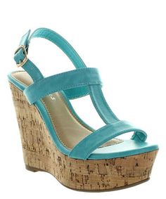 Teal Clora-2 Ankle Strap Wedge
