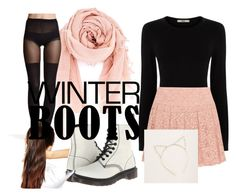 """Winter Peach"" by hail-higgs on Polyvore featuring Oasis, DKNY, Chan Luu, H&M, Dr. Martens, Aerie, ASOS, black, peach and docmartens"