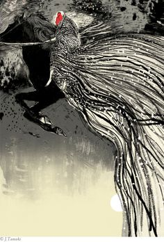 –One of thirteen illustrations by Jillian Tamaki for a Folio Society book of Irish Myths and Legends.