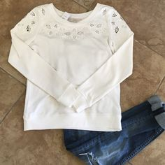 Loft super cute white eyelet sweatshirt XS Super cute super soft white Ann Taylor loft sweatshirt with Eyelet detailing. Perfect for when you want to look casual but put together. Looks great with jeans or ripped jean shorts. NWT size XS LOFT Tops Sweatshirts & Hoodies