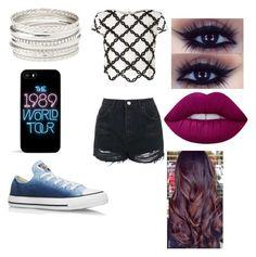"""""""Untitled #453"""" by glamor234 on Polyvore featuring Lipsy, Topshop, Converse, Charlotte Russe and Lime Crime"""