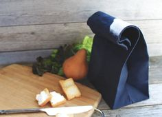 "The ""Brown"" Bag // Navy WAXED Canvas Lunch Bag, an updated, eco-friendly classic"