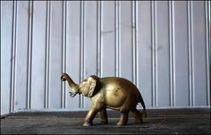 vintage brass elephant, $22