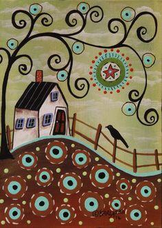 Aqua Blooms ORIGINAL Canvas Panel PAINTING FOLK ART 5 x 7 House Tree Bird KarlaG #FolkArtAbstractPrimitive