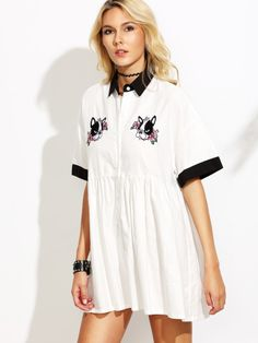 White Embroidered Contrast Collar Shirt Dress