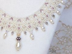 Statement Bridal Necklace Lace Pearl White Bead Weaving by Zeesi