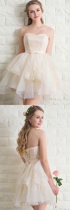 Sweetheart Tulle Lace Homecoming Dresses Short Prom Dresses