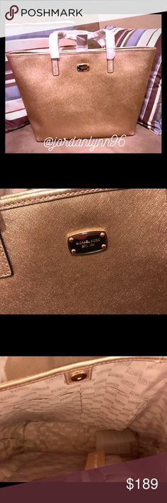 """New Authentic Michael Kors! Authentic! New With Tags! Michael Kors! -Saffiano Leather  -19.5""""W X 11.5""""H X 6""""D  -8.5"""" Handle Drop  -Interior: 1 Zip Padded Pocket, 4 Open Pockets, 1 Phone Pocket, 1 Zipper Pocket, 1 Key Chain  -Compatible With Laptop  -Zipper Fastening  -Lining: 100% Polyester  -Imported Michael Kors Bags Totes"""