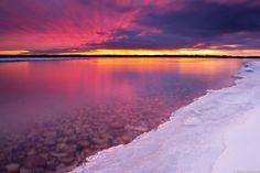 Winter sunrise on Lake Michigan by Pure Michigan, via Flickr