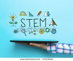 STEM concept with a tablet on blue background