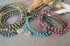 CHOOSE your COLOR Crochet 3x wrap bracelet necklace anklet 'Summer Smoothies'  pink aqua pastels colorful beach boho surfer chic waterproof