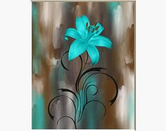 Teal Brown Wall Pictures, Lily Flower, Modern Teal Home Decor Wall Art Picture Status: Availab. Diy Wall Art, Home Decor Wall Art, Diy Art, Canvas Wall Art, Art Decor, Teal Wall Art, Teal Art, Wall Art Pictures, Pictures To Paint