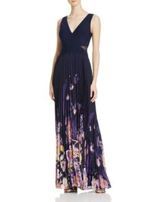 AQUA Pleated Chiffon Combo Gown - 100% Exclusive | Bloomingdale's