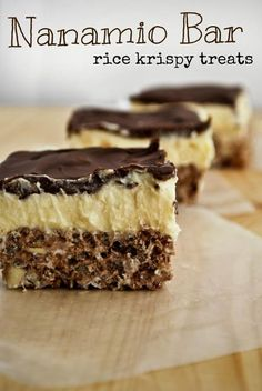 Nanaimo Bar Rice Krispy Treats- chocolate rice krispy treats with coconut and almond, topped with a vanilla custard and chocolate