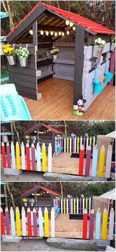 Modern Designed DIY Wood Pallet Creations - Setting up the idea of the wood pallet playhouse creation is the excellent option to add something - Pallet Kids, Diy Pallet Projects, Outdoor Projects, Kids Outdoor Play, Backyard For Kids, Pallet Playhouse, Pallet House, Pallet Barn, Pallet Designs