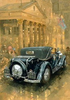 Great Big Canvas 'Phantom in the Haymarket' by Peter Miller Painting Print Size: H x W x D, Format: Canvas Vintage Diy, Vintage Images, Vintage Posters, Vintage Cars, Antique Cars, Vintage Ideas, Car Painting, Painting Prints, Paintings