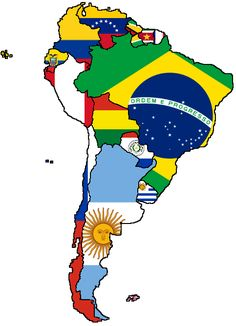 Self-made Flag Map of South America, nothing else. South America Flag, South America Animals, South America Travel, America Memes, Backpacking South America, Geography, Map, Montessori, Flags
