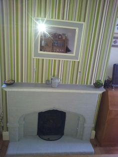 Finished fire place. Annie sloan French grey, white accent. Waxed to finish. Love it so much.