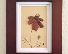 Genuine Brown and green sea glass art, pebble art, framed art, wall decor, home decor, flower, unique gift, beach decor