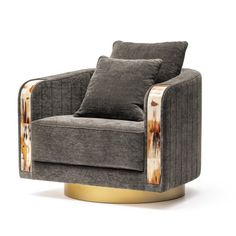 Swivel Armchair Arcahorn - Artemest Single Sofa, Swivel Armchair, Eclectic Design, Wood Rounds, Round Wall Mirror, Tub Chair, Luxury Furniture, Accent Chairs, Upholstery