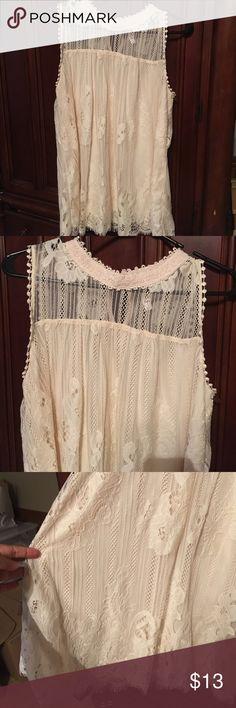 Ivory Lace Blouse Ivory Lace Blouse, NWOT, never worn, great w/leggings. Smoke/Pet Free Home Xhilaration Tops Blouses