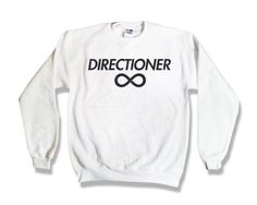 """#DIRECTIONER #1DIRECTION #1D #1DMEMORIES #KissYou #ONEDIRECTION #HARRY #LIAM #NIALL #ZAYNE #LOUIS #NiallHoran #ZaynMalik #LiamPayne #HarryStyles #LouisTomlinson   One Direction """"Directioner"""" Sweatshirt - White - All Sizes Available - 1D Sweater. $23.45, via Etsy."""