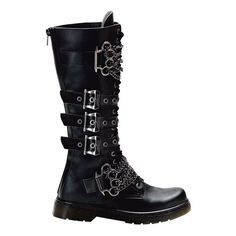 Gothic Boots | MENS Combat Boots Gothic Boots With Brass Knuckles Lace Up Buckles