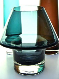 Aima Okkolin; Glass Stromboli vase for Lasi Oy Riihimaen.