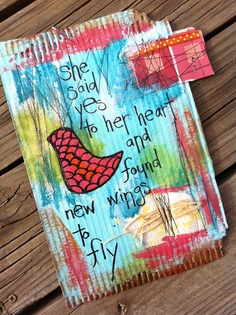 altered cardboard..she said yes to her heart and found new wings to fly
