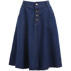 With Buttons Denim Pleated Skirt ($16) ❤ liked on Polyvore featuring skirts, blue, pleated denim skirt, a line skirt, blue denim skirt, knee high skirts and pleated skirt