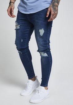 Ripped Jeans, Denim Jeans, Skinny Jeans, Men Street Look, Street Wear, Casual Outfits, Men Casual, Fashion Outfits, Nike Shoes Air Force